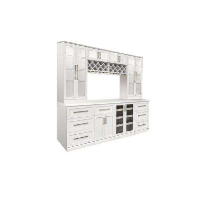 Home Bar White 9-Piece Shaker Style Bar Cabinet