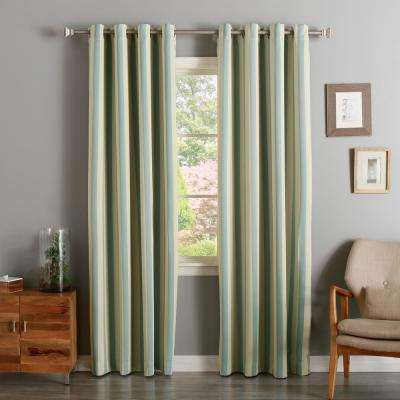 96 in. L Room Darkening Vertical Stripe Curtain Panel in Biscuit and Sky Blue (2-Pack)