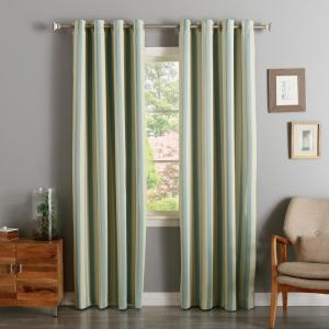 Click here to buy  96 inch L Room Darkening Vertical Stripe Curtain Panel in Biscuit and Sky Blue (2-Pack).