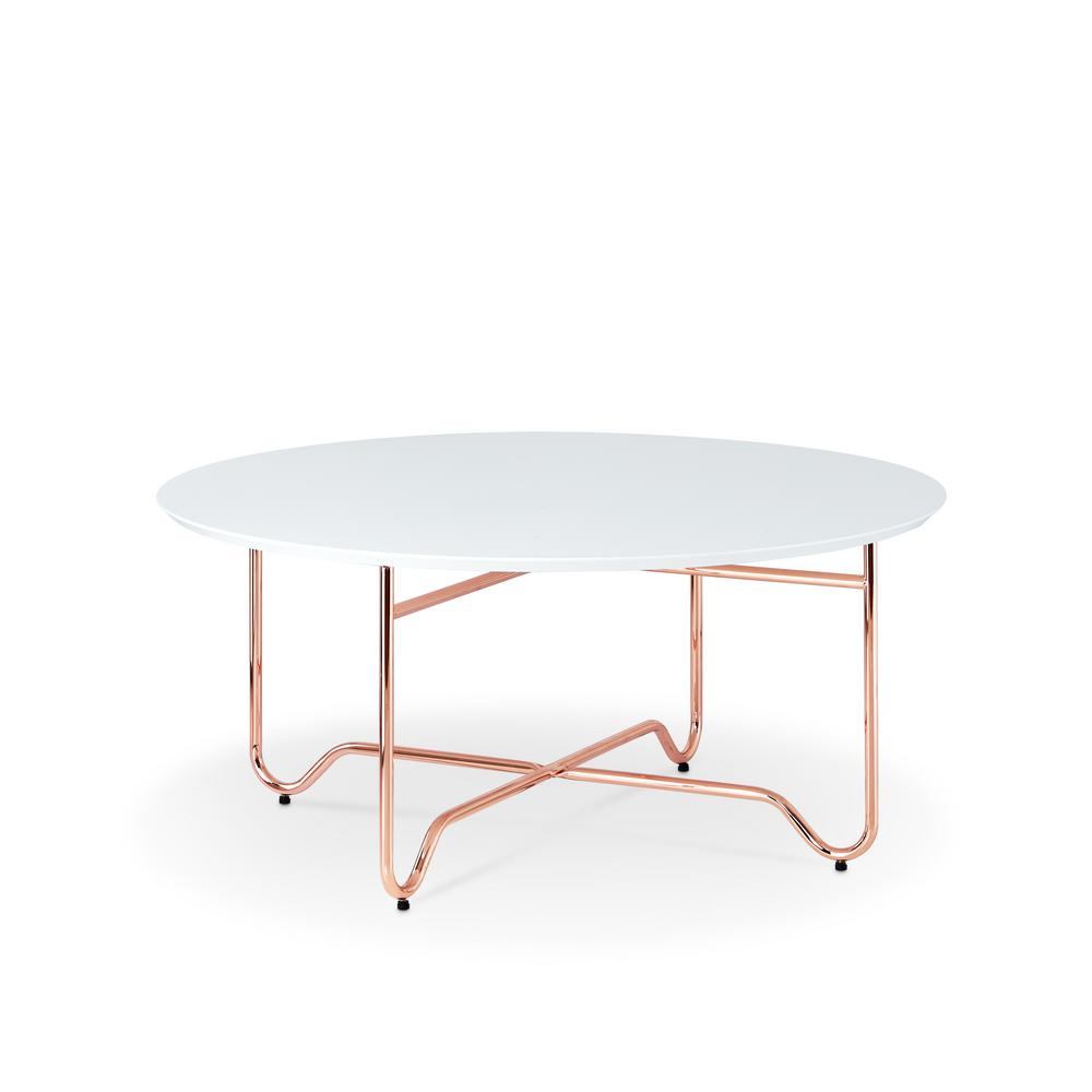 ACME Furniture Canty Coffee Table In White And Rose Gold