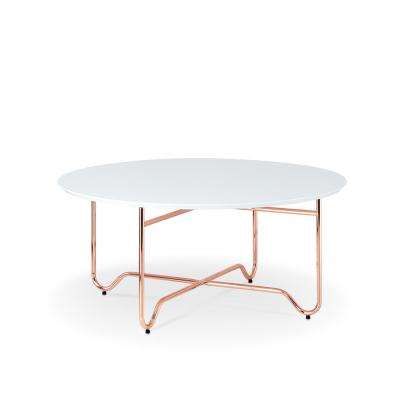Canty Coffee Table in White and Rose Gold