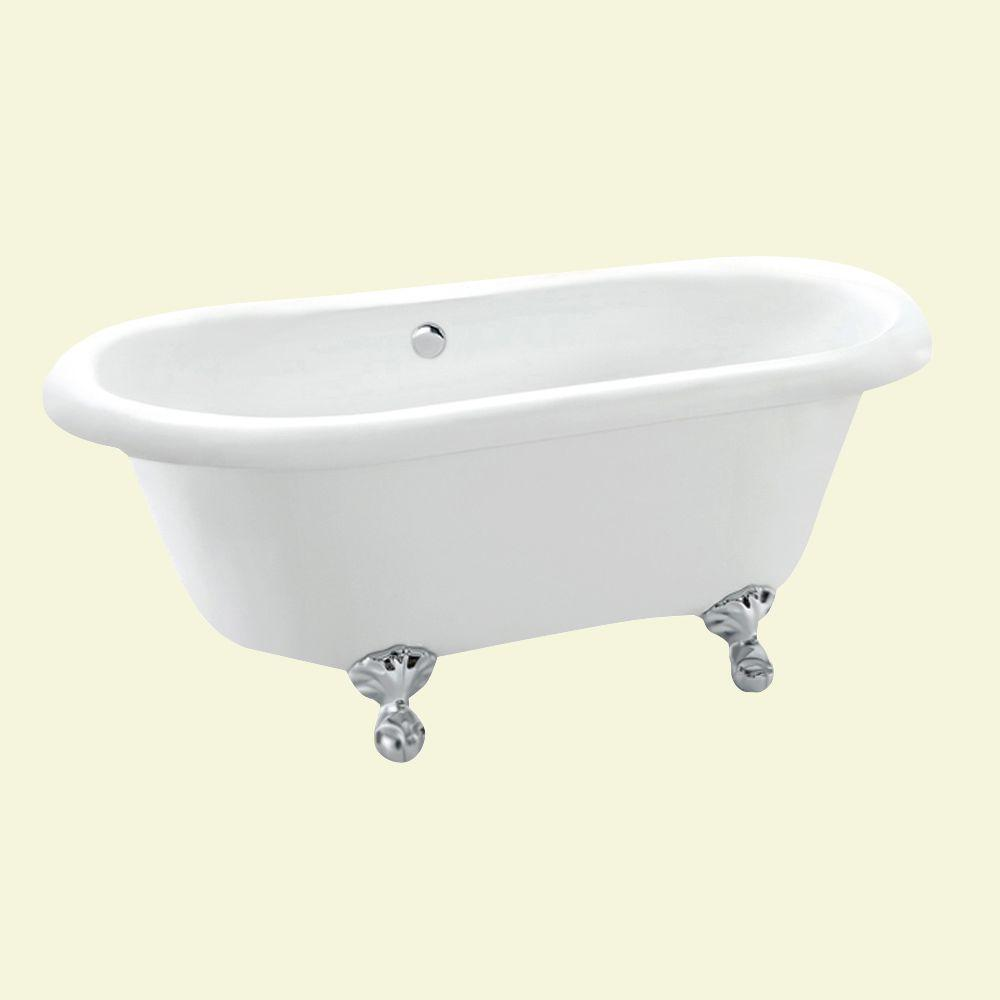 null Dreamwerks 5 ft. Acrylic Claw Foot Oval Tub