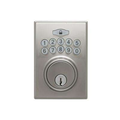 Square Electronic Keypad Satin Stainless Deadbolt