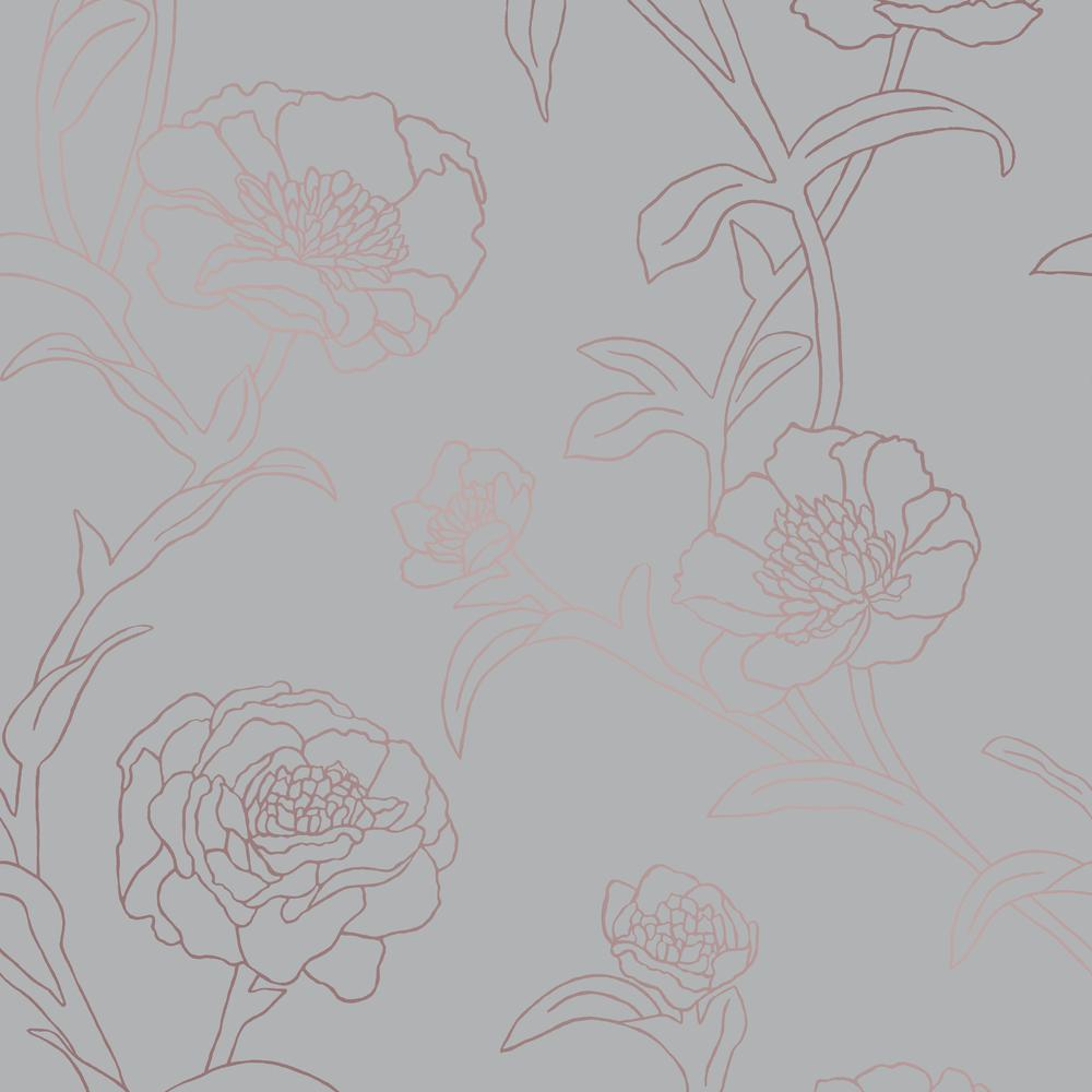 Peonies Pearlescent Self-Adhesive Removable Wallpaper