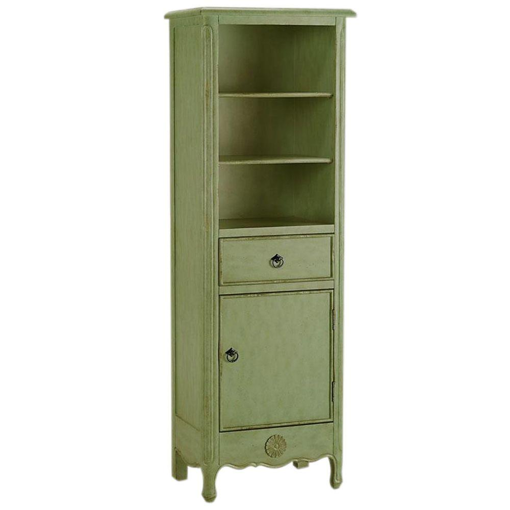 Home Decorators Collection Keys 60 in. H x 20 in. W Linen Cabinet in Antique Green