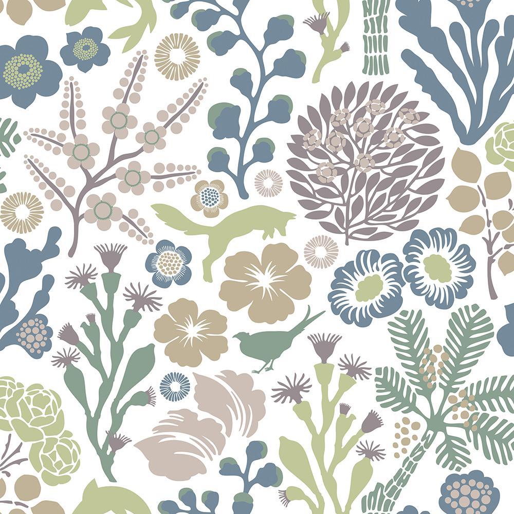 57.8 sq. ft. Flytta Green Fauna Wallpaper