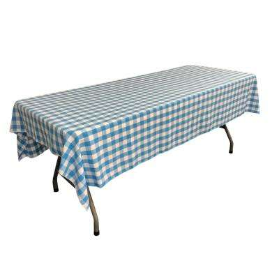 60 in. x 102 in. White and Turquoise Polyester Gingham Checkered Rectangular Tablecloth