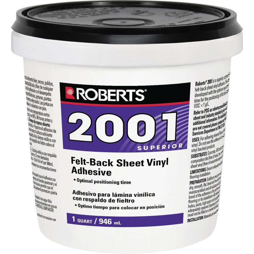 Roberts 2001 1 Qt. Felt-Back Sheet Vinyl Glue Adhesive, Superior Grade
