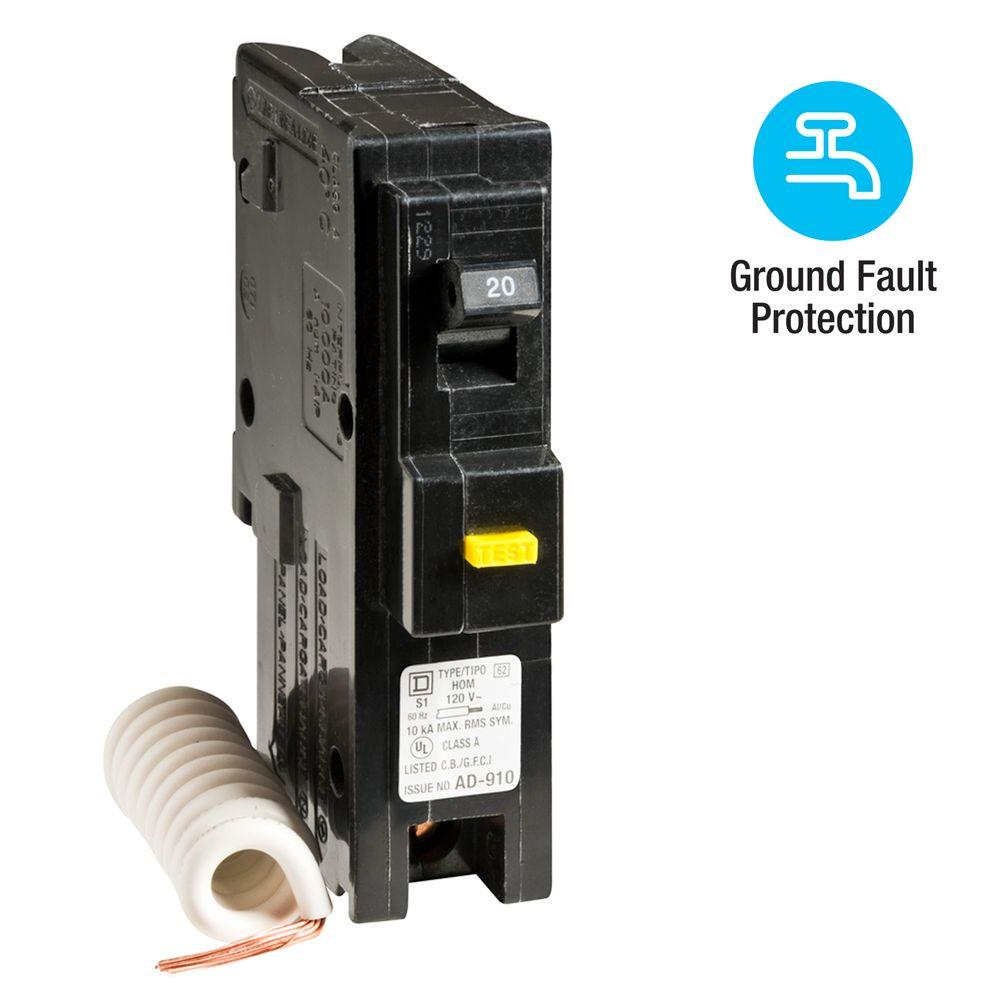 Square D Homeline 20 Amp Single Pole GFCI Circuit Breaker