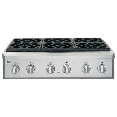 36 in gas cooktop in stainless steel with 6 burners