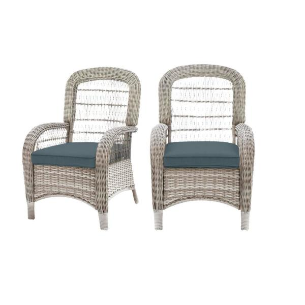 Beacon Park Gray Wicker Outdoor Patio Captain Dining Chair with Sunbrella Denim Blue Cushions (2-Pack)