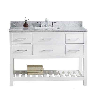 Caroline Estate 49 in. W Bath Vanity in White with Marble Vanity Top in White with Square Basin and Faucet
