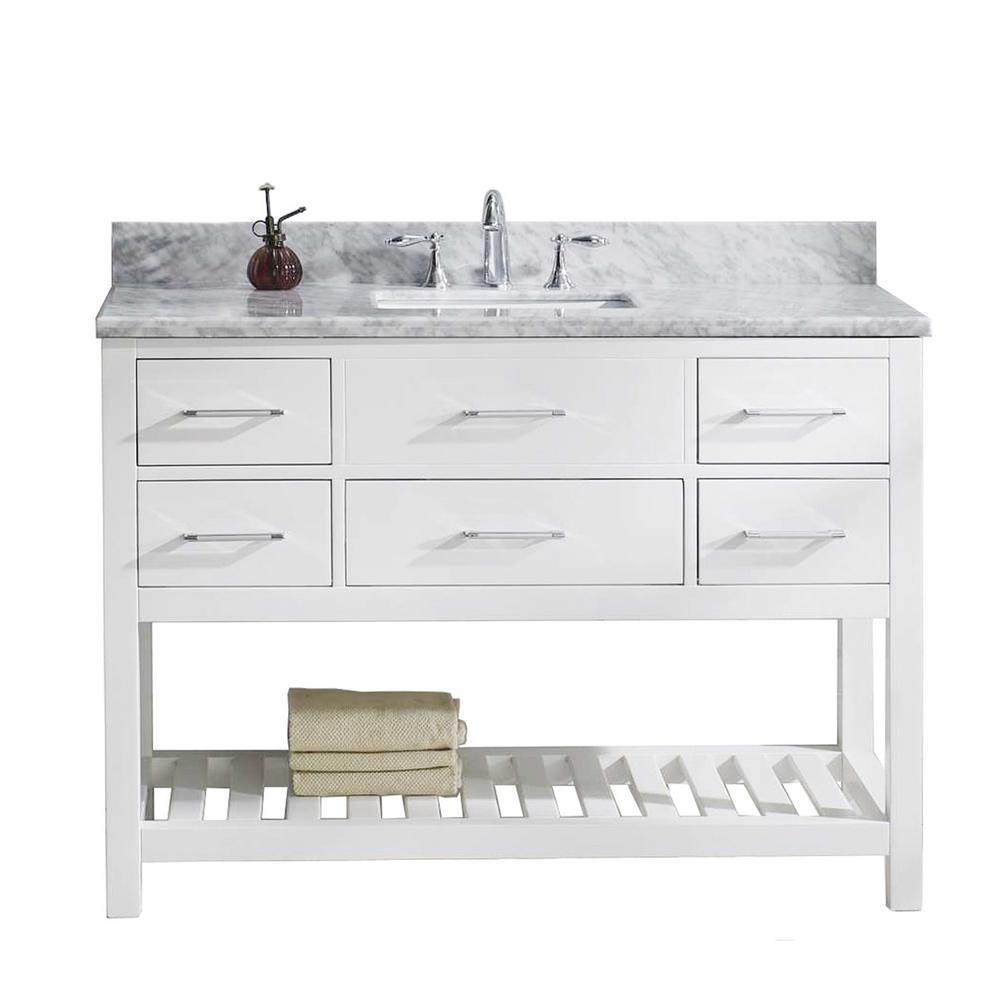 Caroline Estate 48 in. W x 22 in. D Vanity in White with Marble Vanity Top in White with White Basin with Faucet
