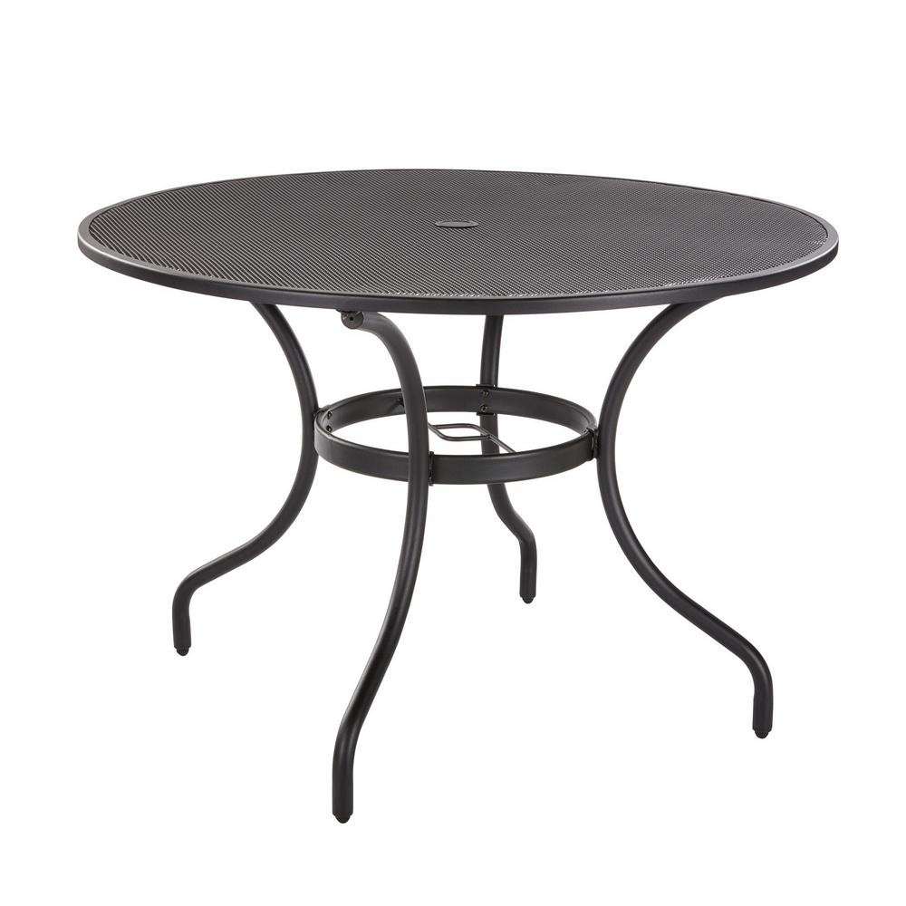 Hampton Bay Mix And Match 42 In Black Round Metal Outdoor