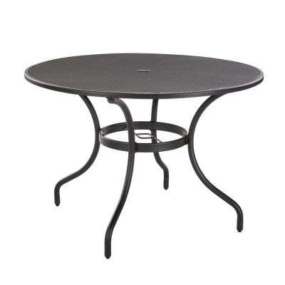 Mix and Match 42 in. Black Round Metal Outdoor Dining Table with Mesh Top