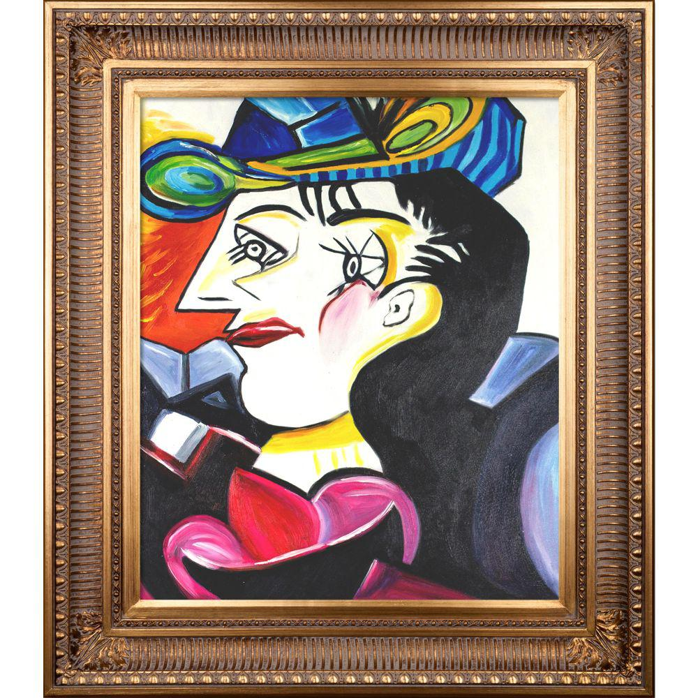 ArtistBe Picasso by Nora, Man With Blue Hat with Regal Gold Frameby Nora Shepley Canvas Print, Multi-color was $752.01 now $387.73 (48.0% off)
