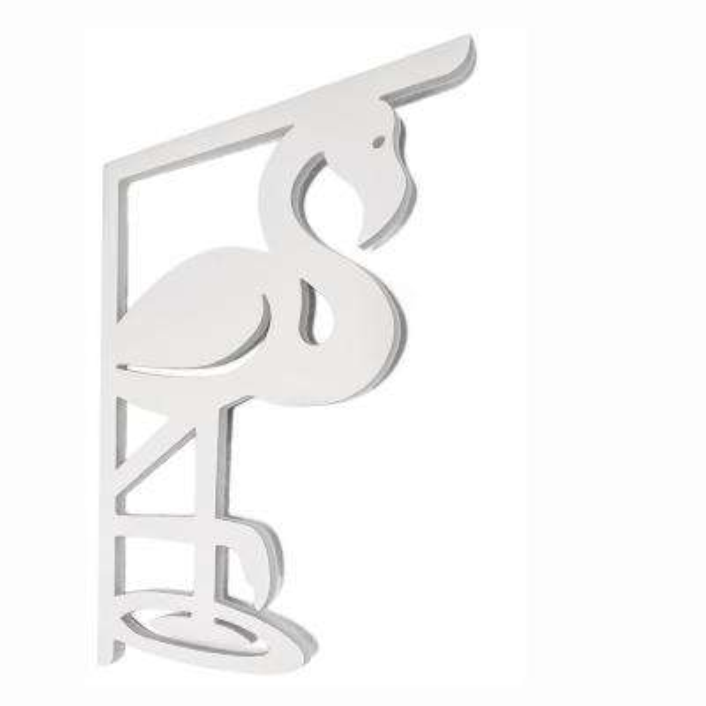 Decorative 16 in. Paintable PVC Flamingo Mailbox or Porch Bracket