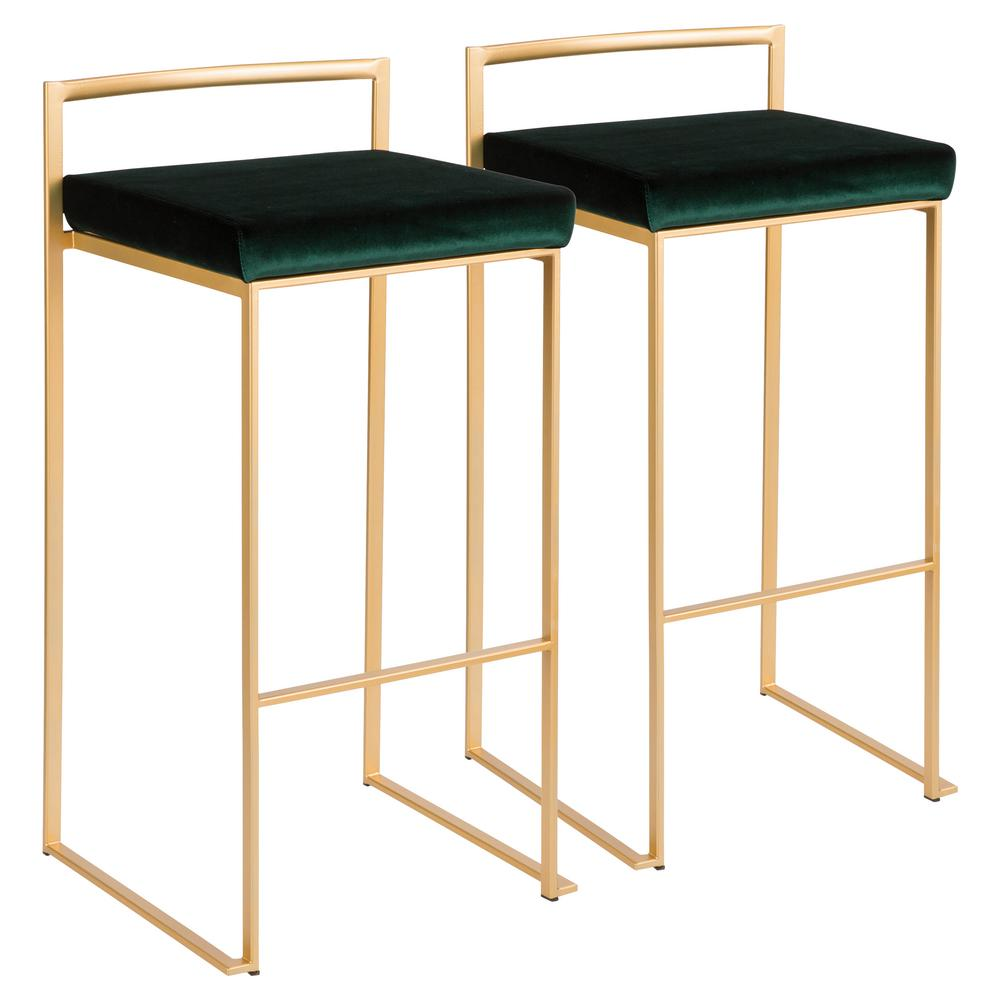 Gold stackable bar stool with green velvet cushion set of