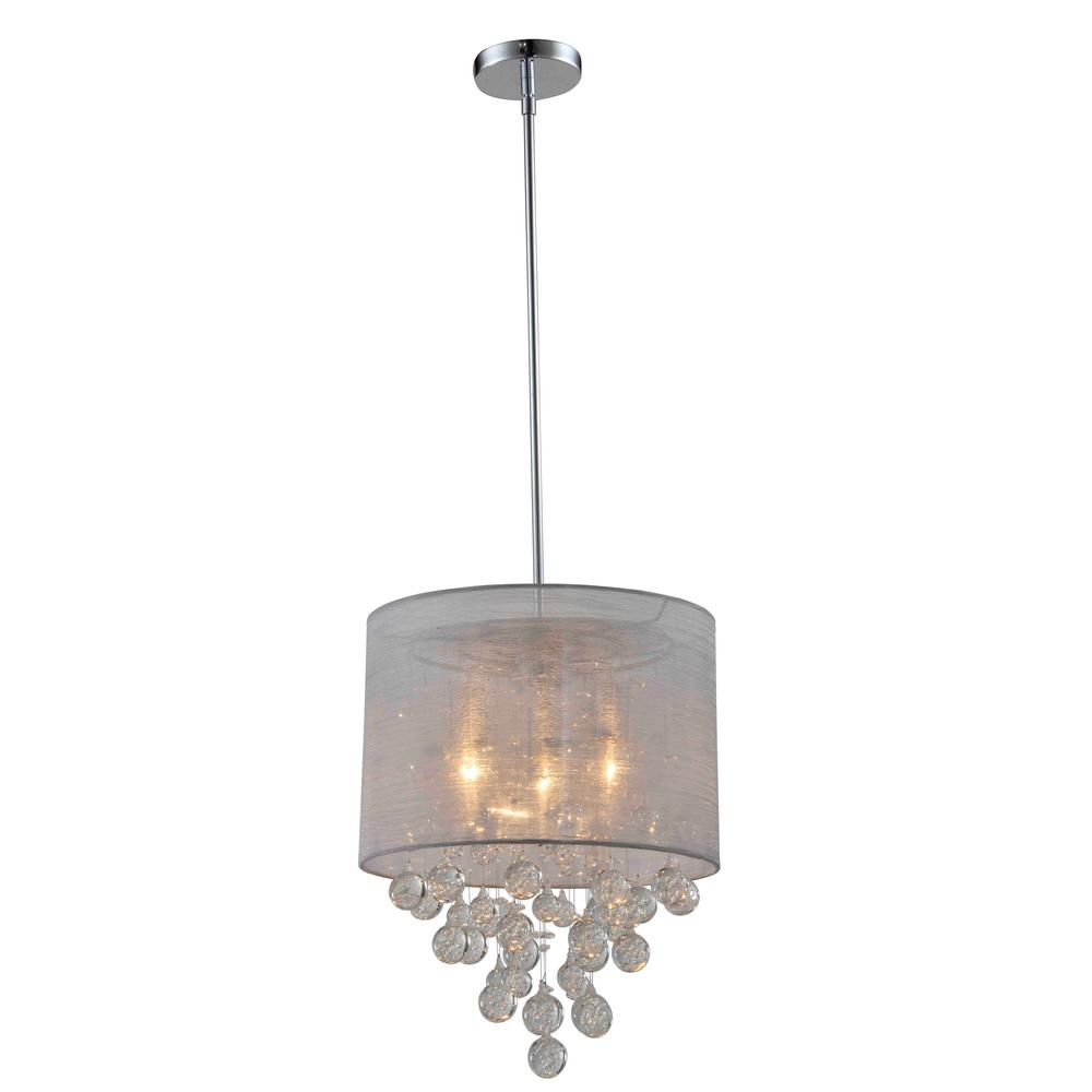 Artiva charlotte silver textured silk shade 3 light chrome crystal artiva charlotte silver textured silk shade 3 light chrome crystal chandelier with bubbles glass ball mozeypictures Choice Image