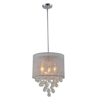 Charlotte Silver Textured Silk Shade 3-Light Chrome Crystal Chandelier with Bubbles Glass Ball