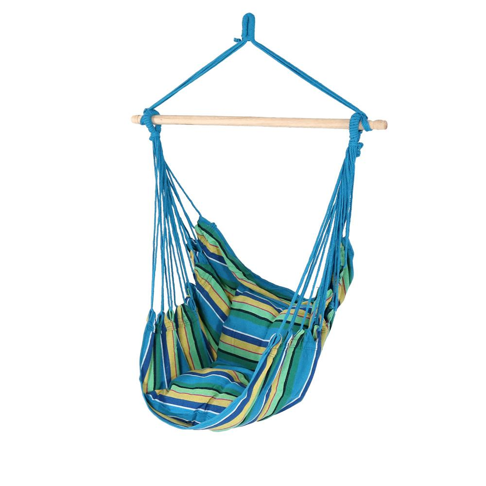 3.5 ft. Fabric Hanging Hammock Swing with Two Cushions in Ocean