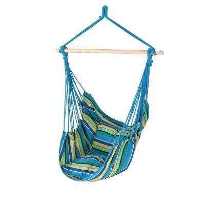 3.5 ft. Fabric Hanging Hammock Swing with Two Cushions in Ocean Breeze