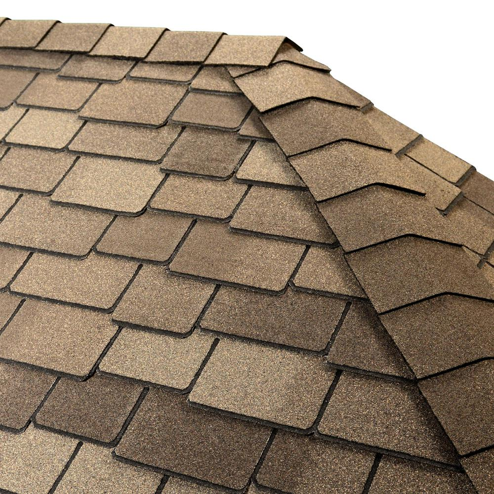 GAF Timbertex Cedarwood Abbey Double-Layer Hip and Ridge Cap Roofing Shingles (20 lin. ft. per Bundle) (30-pieces)