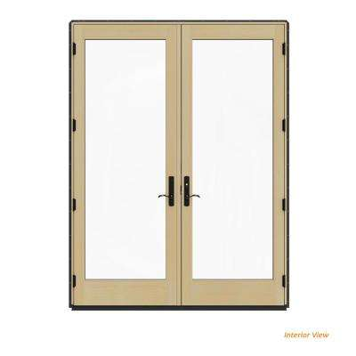 72 in. x 96 in. W-4500 Contemporary Bronze Clad Wood Left-Hand Full Lite French Patio Door w/Lacquered Interior