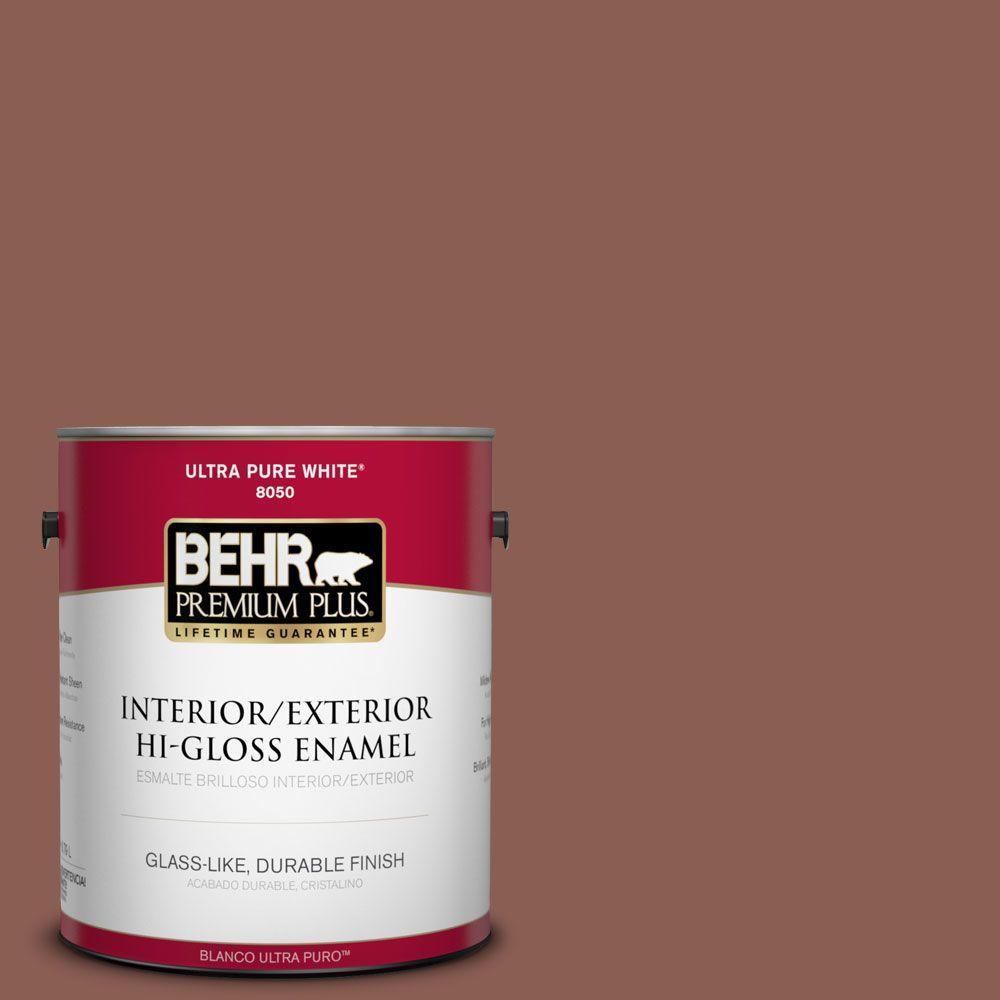 BEHR Premium Plus 1-gal. #S170-6 Red Curry Hi-Gloss Enamel Interior/Exterior Paint