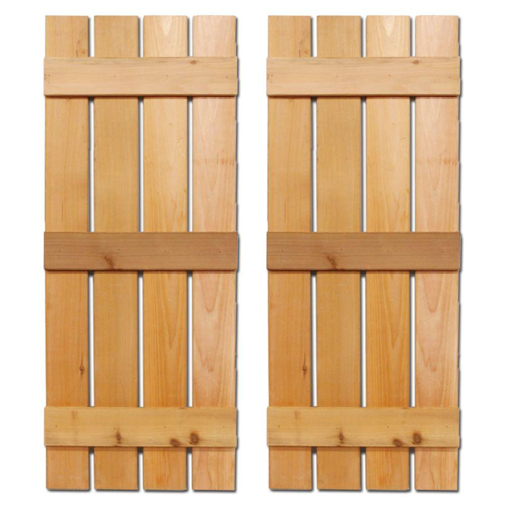 Design Craft MIllworks 12 in. x 60 in. Natural Cedar Baton Spaced Shutters Pair