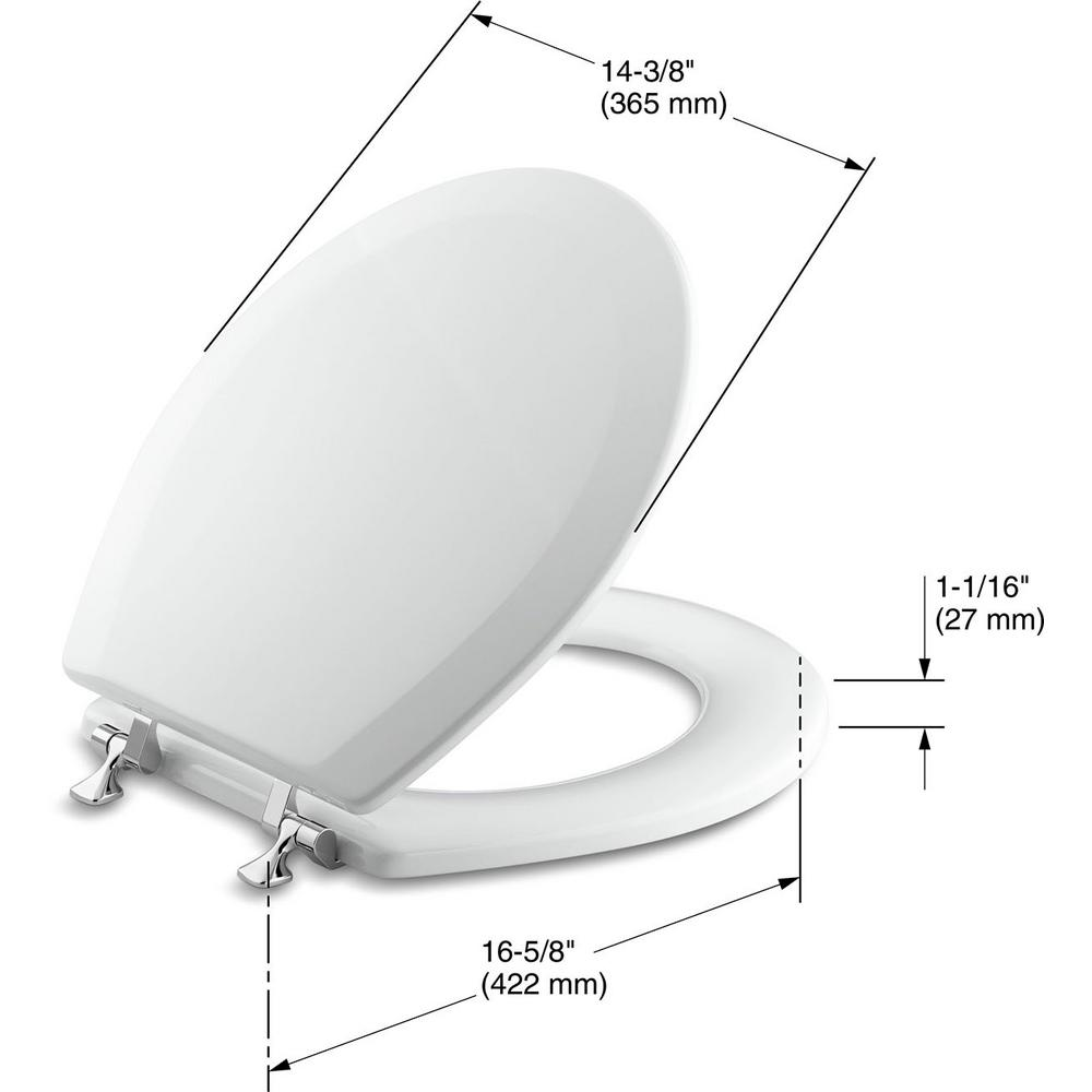 Fantastic Kohler Triko Molded Round Closed Front Toilet Seat With Cover And Polished Chrome Hinge In White Forskolin Free Trial Chair Design Images Forskolin Free Trialorg