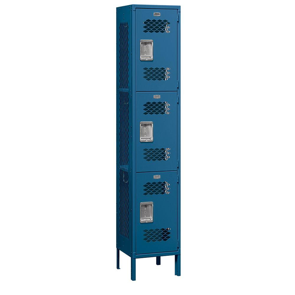 Salsbury Industries 83000 Series 15 in. W x 78 in. H x 15 in. D 3-Tier Extra Wide Vented Metal Locker Assembled in Blue