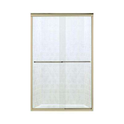 Finesse 47-5/8 in. x 70-1/16 in. Semi-Frameless Sliding Shower Door in Polished Brass with Handle