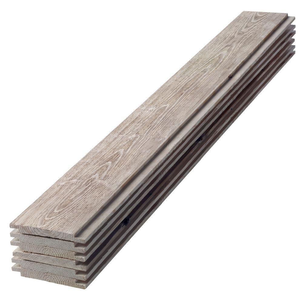 1 in. x 6 in. x 4 ft. Barn Wood Gray Shiplap Pine Board (6-Pack)