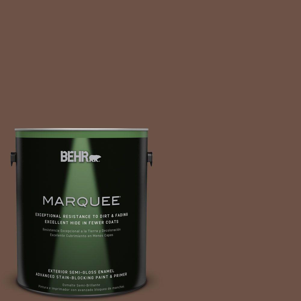 BEHR MARQUEE 1-gal. #MQ2-5 Well Bred Brown Semi-Gloss Enamel Exterior Paint