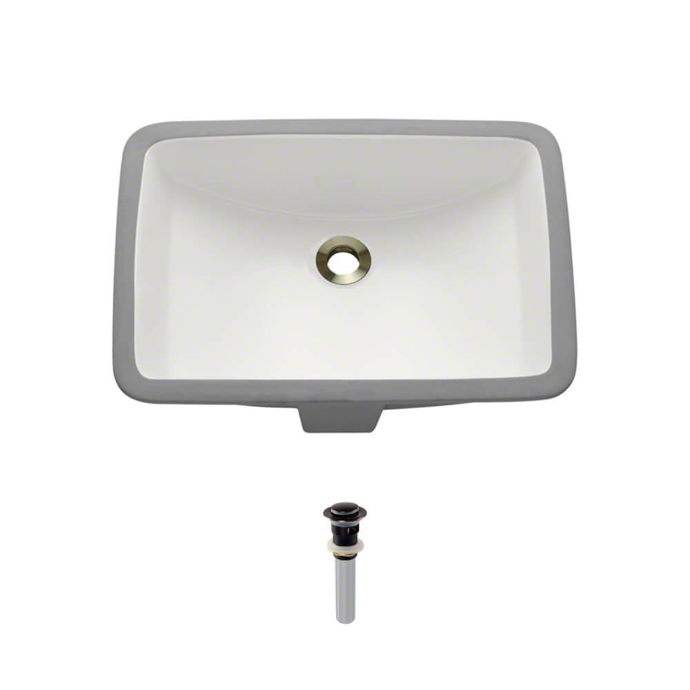 Undermount Porcelain Bathroom Sink in Biscuit with Pop-Up Drain in Antique Bronze