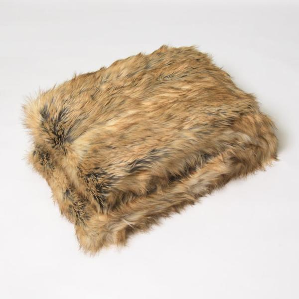 Amber Fox Faux Fur Throw 58 in. x 60 In.
