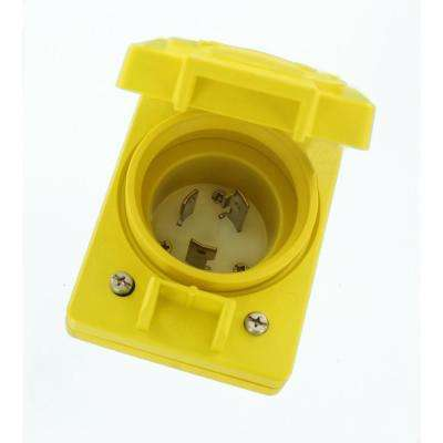 30 Amp 125-Volt Wetguard Single Locking Grounding Inlet with Cover, Yellow