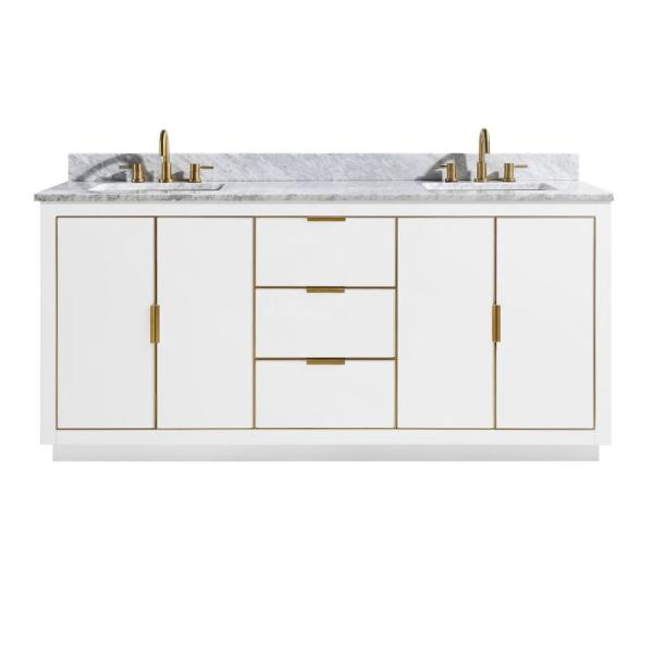 Austen 73 in. W x 22 in. D Bath Vanity in White with Gold Trim with Marble Vanity Top in Carrara White with White Basins