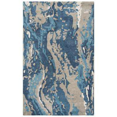 Lapis Blue/Taupe 10 ft. x 13 ft. Abstract Area Rug
