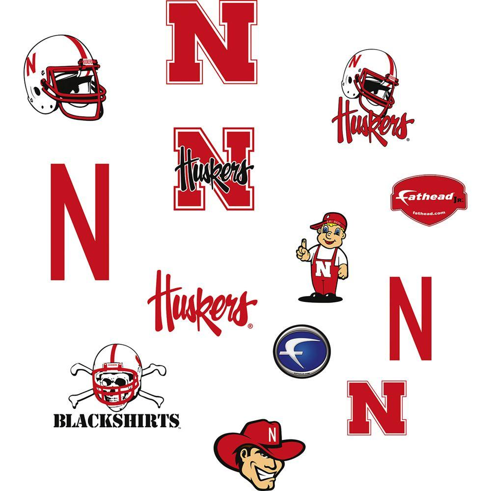 Fathead 40 in. x 27 in. Nebraska Cornhuskers Team Logo Assortment Wall Decal