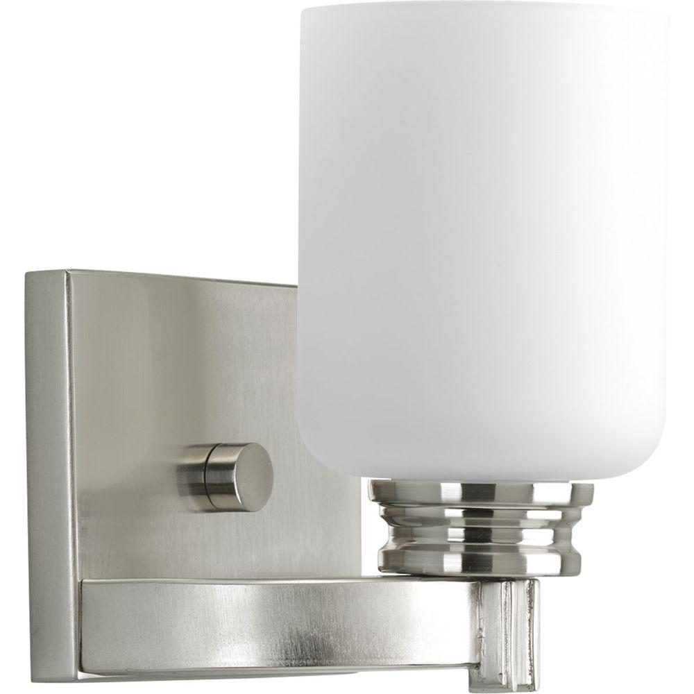 Orbit Collection 1-Light Brushed Nickel Bath Sconce with Opal Etched Glass