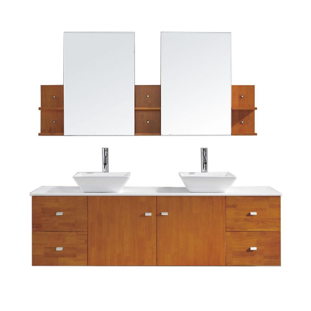 Virtu USA Clarissa 72 in. W Bath Vanity in Honey Oak with Stone Vanity Top in White with Square Basin and Mirror and Faucet