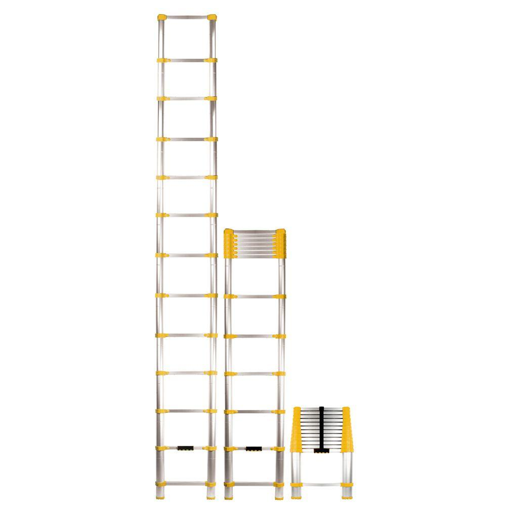 Xtend & Climb 12.5 ft. Telescoping Aluminum Extension Ladder with 225 lb. Load Capacity Type II Duty rating