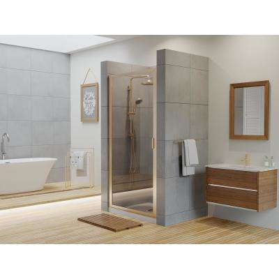 Paragon 27 in. to 27.75 in. x 83 in. Framed Continuous Hinged Shower Door in Brushed Nickel with Clear Glass