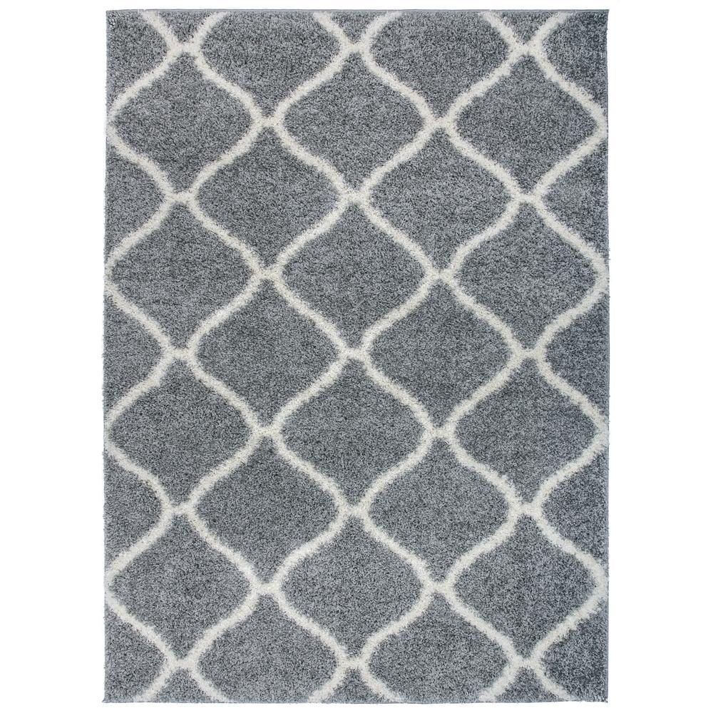 "Moroccan Geometric Shag Gray Cream Area Rug (3'3""x5')"
