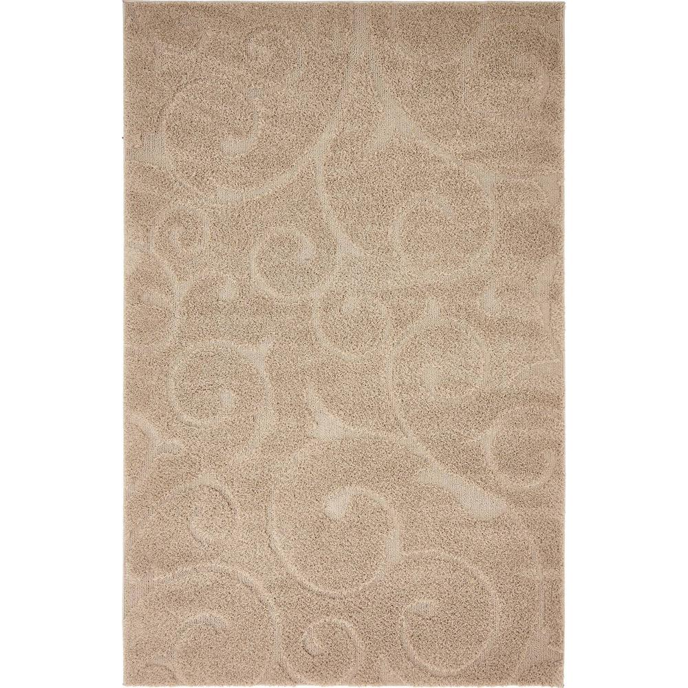 Unique Loom Floral Shag Beige 5 Ft X 8 Ft Area Rug