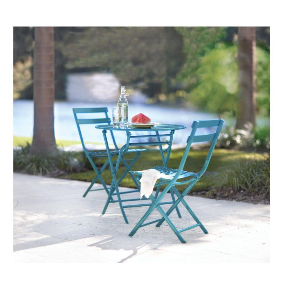 Wonderful Home Decorators Collection Follie Peacock 3 Piece Patio Bistro Set