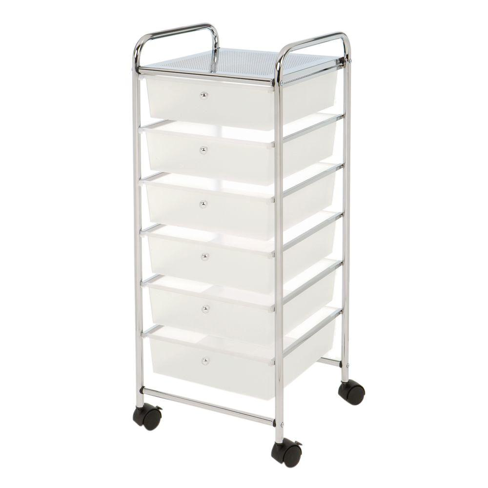 Seville Classics 15.35 in. x 38.5 6-Cube Drawer Steel Organizer Cart in Frosted White