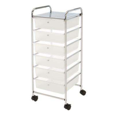 15.35 in. x 38.5 6-Cube Drawer Steel Organizer Cart in Frosted White